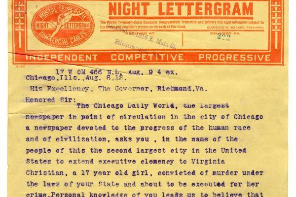 Telegram from E. Val Putnam (pg. 1)