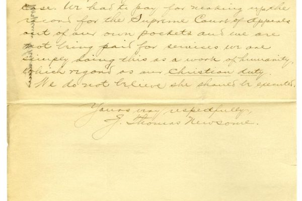 Letter from J. Thomas Newsome (pg. 2)