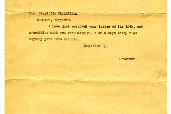 Letter from Gov. Mann to Charlotte Christian