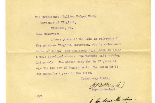 Letter from J.B. Wood to Gov. Mann