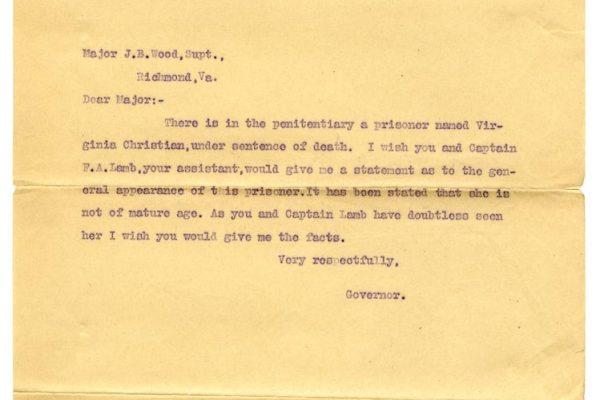 Letter from Gov. Mann to Penitentiary Superintendent