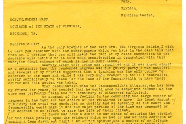 Letter from Lewter F. Hobbs (pg. 1)