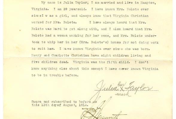 Sworn affidavit of Julia Taylor