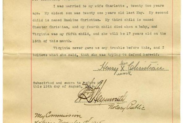 Sworn affidavit of Henry Christian (pg. 3)
