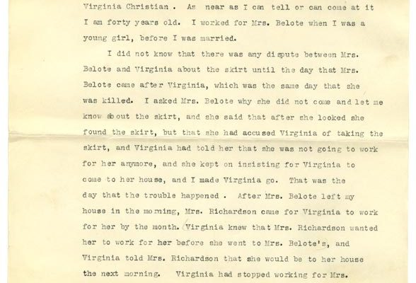Sworn affidavit of Charlotte Christian