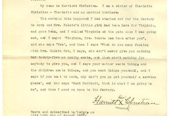 Sworn affidavit of Harriet Christian