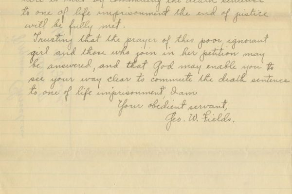 Letter from George W. Fields (page 4)