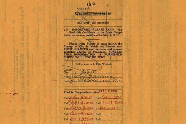 Certificate of John Salling