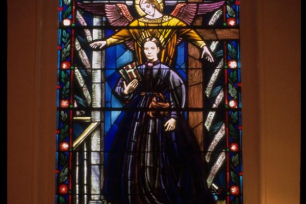 Stained glass window of Tompkins