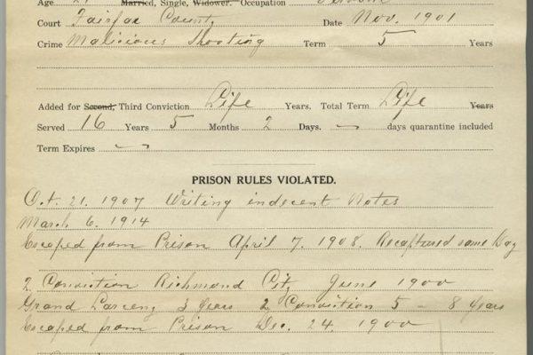 Prison Record of Lizzie Dodson