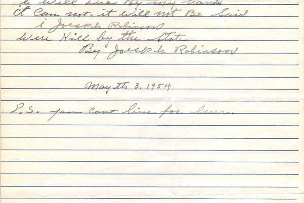 Suicide Note of Robinson