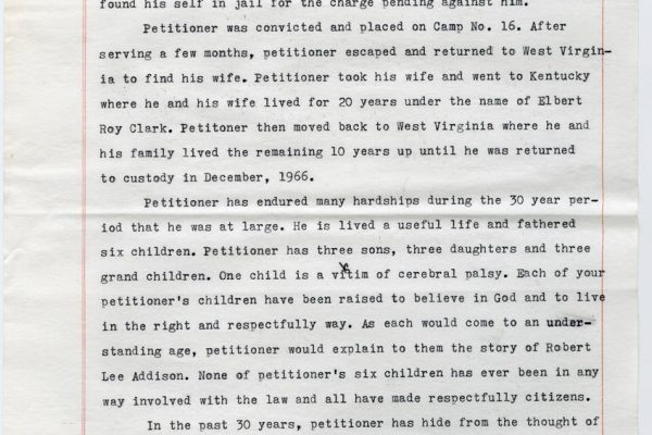 Clemency Petition of Bob Addison pg. 2