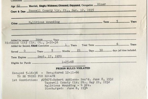Prison Record of Bob Addison
