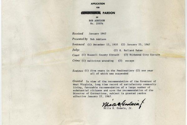 Jacket of Addison Pardon File
