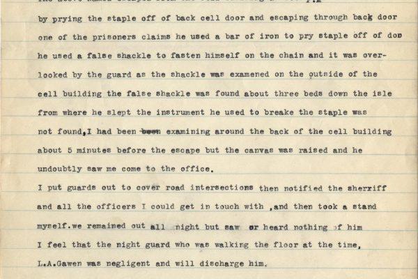 Escape Report of Bob Addison