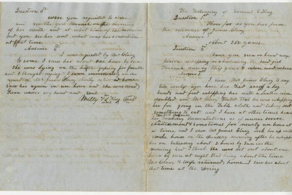 Continued testimony of Milly King and the deposition of her husband Samuel S. King