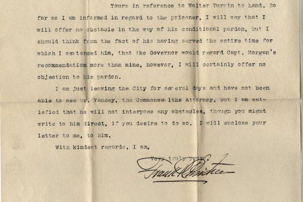 Letter from Judge Frank Christian