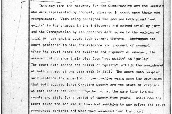 Court sentence for the Lovings