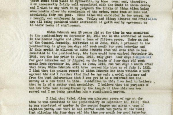 Statement of Gov. Trinkle pg. 1