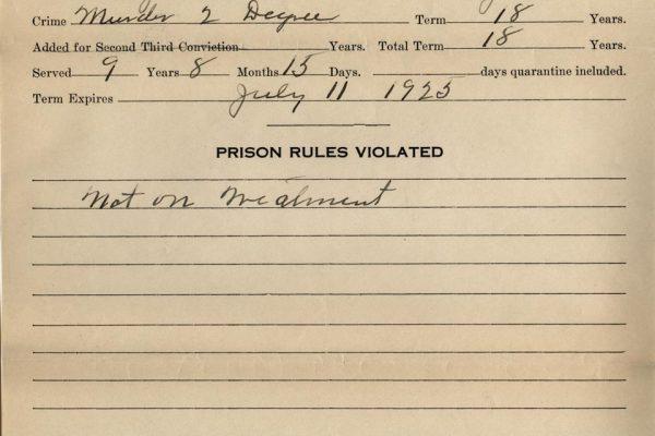 Prisoner Record of Allen