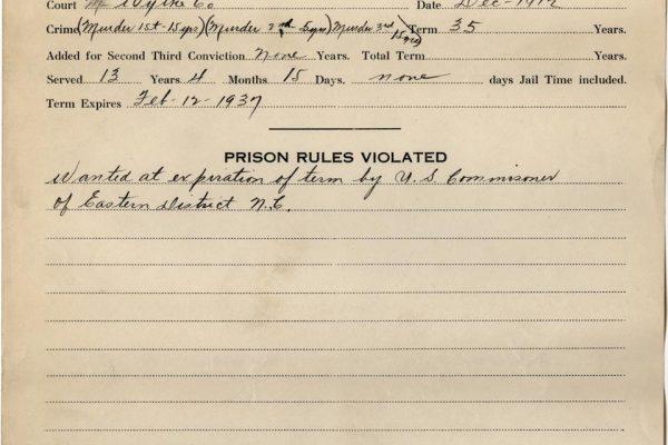 Prisoner Record of Allen 2