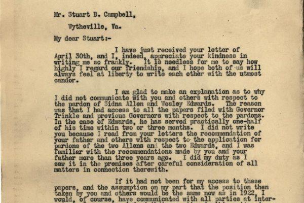 Letter from Gov. Byrd