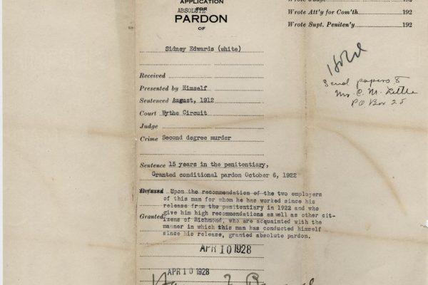 Jacket of Edwards Absolute Pardon File