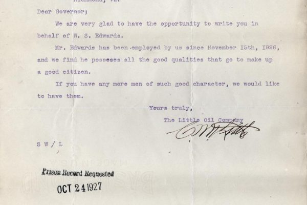 Letter from C.W. Little