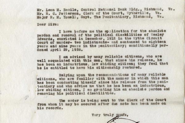 Letter from Gov. Peery