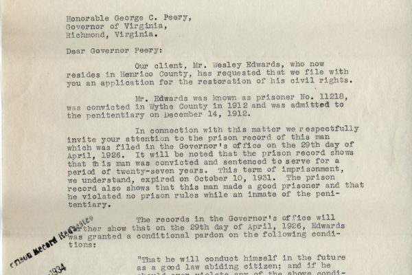 Letter from Leon M. Bazile pg. 1