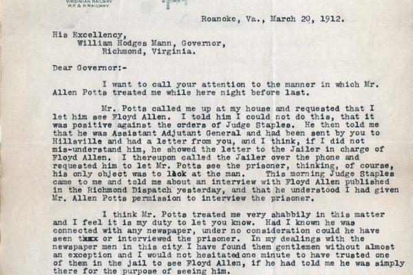 Letter from W.G. Baldwin