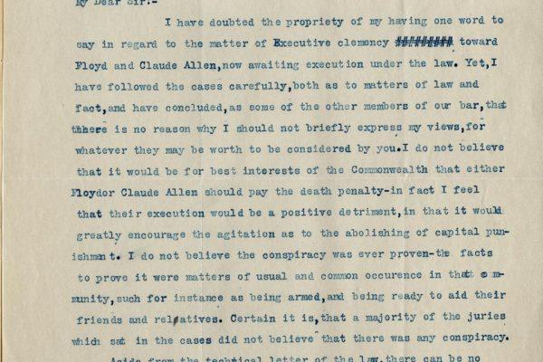 Letter from Hugh White
