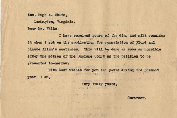 Letter from Gov. Mann