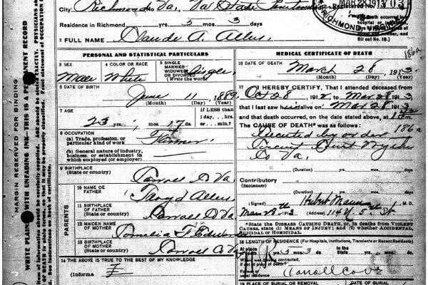 Death certificate of Claude Allen