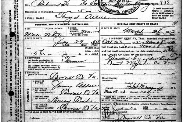 Death certificate of Floyd Allen