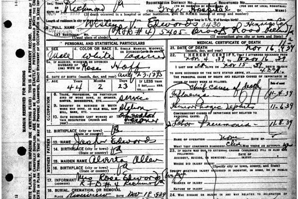 Death certificate of Wesley Edwards