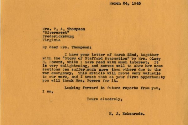 Letter from H.J. Eckenrode