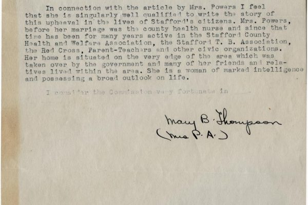 Letter from Mary Thompson