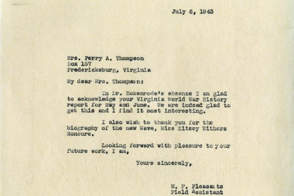 Letter from M.P. Pleasants