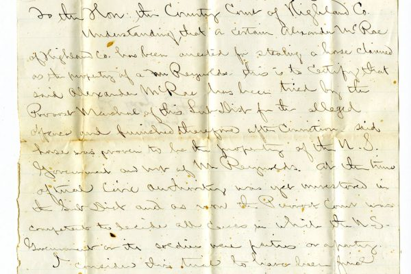 Letter from Lieutenant Clay