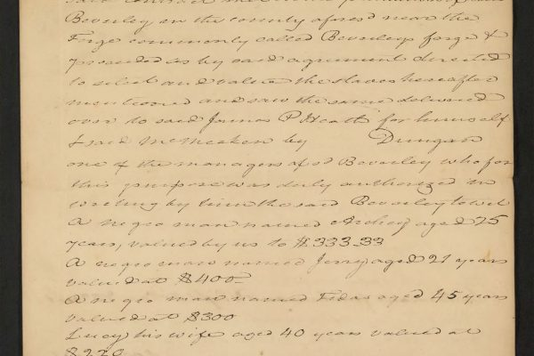 Bill of sale for 31 slaves pg. 1
