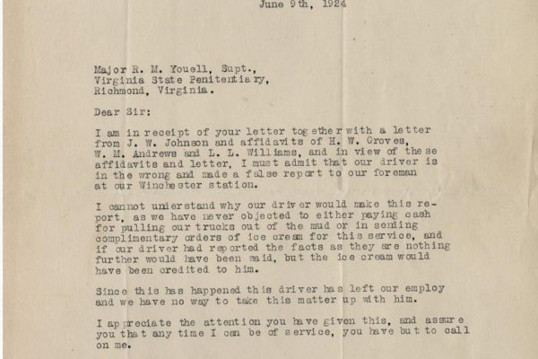 Letter from A.W. Warne