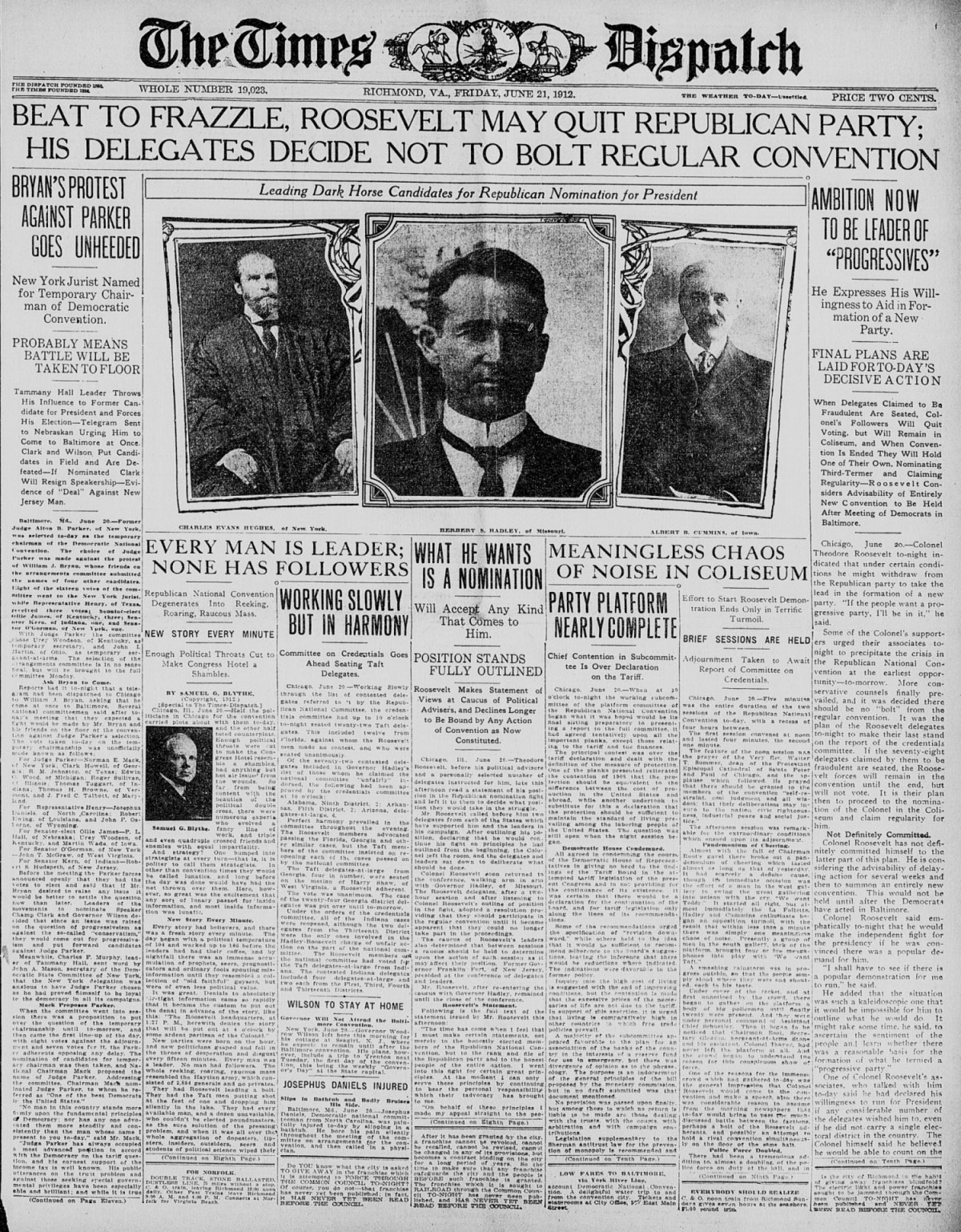 100 Years Ago Today:  Chaos at the Republican Convention