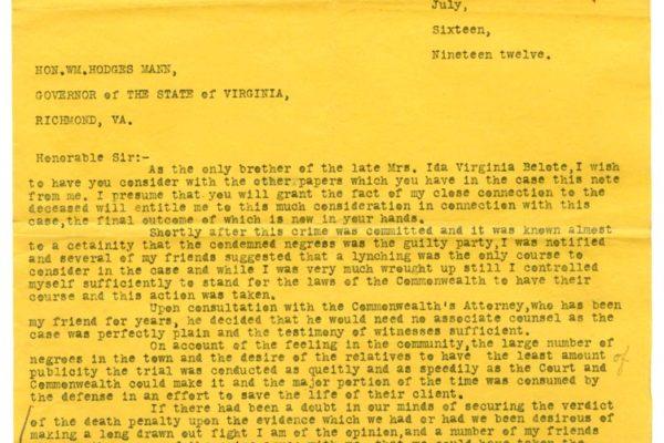 Letter from Lewter Hobbs pg. 1