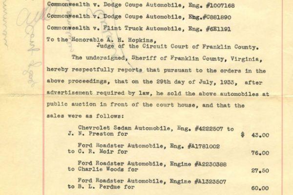 Commonwealth v. Automobiles, 1933