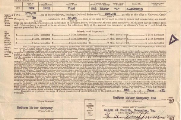 Sale contract, Commonwealth v. One Ford Roadster