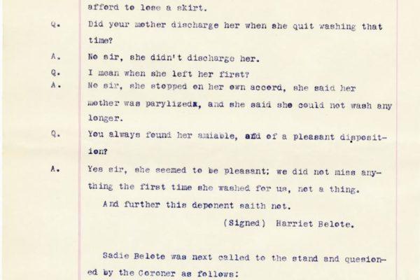 Transcript of Sadie Belote's testimony