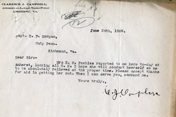 Letter from Clarence Campbell