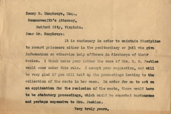Letter to Henry Humphreys