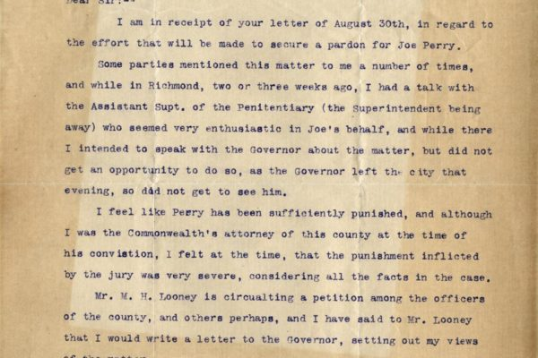 Letter from R.E. Williams,